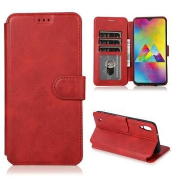 Voor Samsung Galaxy M10 Kalf texture Magnetische gesp horizontale flip lederen case met houder & kaartslots & portemonnee & fotoframe(rood)