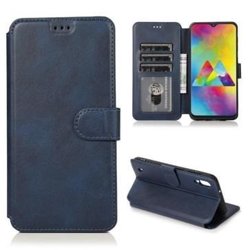 Voor Samsung Galaxy M10 Kalf texture Magnetische gesp horizontale flip lederen case met houder & kaartslots & portemonnee & fotoframe(blauw)