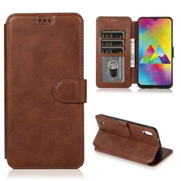 Voor Samsung Galaxy M10 Kalf texture Magnetic Buckle Horizontale Flip Lederen case met Holder & Card Slots & Wallet & Photo Frame(Koffie)
