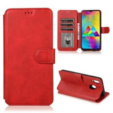Voor Samsung Galaxy M20 Kalf texture Magnetische gesp horizontale flip lederen case met houder & kaartslots & portemonnee & fotoframe(rood)