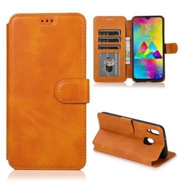 Voor Samsung Galaxy M20 Kalf texture Magnetische gesp horizontale flip lederen case met houder & kaartslots & portemonnee & fotoframe (kaki)