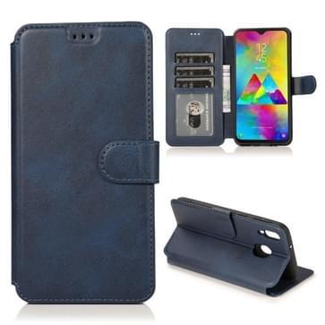 Voor Samsung Galaxy M20 Kalf texture Magnetische gesp horizontale flip lederen case met houder & kaartslots & portemonnee & fotoframe(blauw)