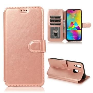 Voor Samsung Galaxy M20 Kalf texture Magnetische gesp horizontale flip lederen case met houder & kaartslots & portemonnee & fotoframe (Rose Gold)