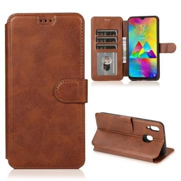 Voor Samsung Galaxy M20 Kalf texture Magnetische gesp horizontale flip lederen case met houder & kaartslots & portemonnee & fotolijst(koffie)