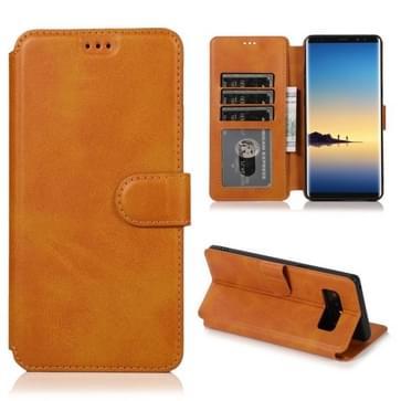 Voor Samsung Galaxy Note 8 Kalf texture magnetische gesp horizontale flip lederen case met houder & kaartslots & portemonnee & fotoframe (kaki)