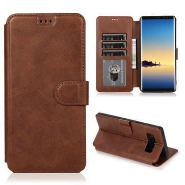 Voor Samsung Galaxy Note 8 Kalf texture magnetische gesp horizontale flip lederen case met houder & kaartslots & portemonnee & fotolijst(koffie)