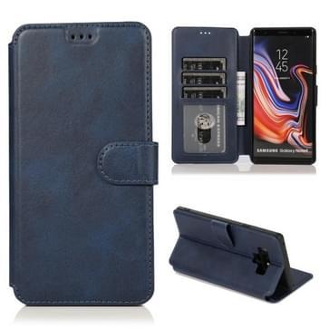 Voor Samsung Galaxy Note9 Kalf texture magnetische gesp horizontale flip lederen case met houder & kaartslots & portemonnee & fotoframe(blauw)