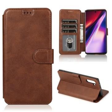 Voor Samsung Galaxy Note 10 Kalf texture Magnetische gesp horizontale flip lederen case met houder & kaartslots & portemonnee & fotolijst(koffie)
