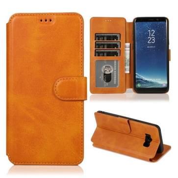 Voor Samsung Galaxy S8 Plus Kalf texture Magnetische gesp horizontale flip lederen case met houder & kaartslots & portemonnee & fotoframe (Khaki)