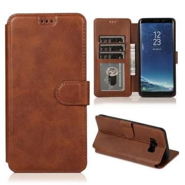 Voor Samsung Galaxy S8 Plus Kalf texture Magnetische gesp horizontale flip lederen case met houder & kaartslots & portemonnee & fotolijst(koffie)