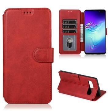 Voor Samsung Galaxy S10 5G Kalf texture Magnetische gesp horizontale flip lederen kast met houder & kaartslots & portemonnee & fotoframe(rood)