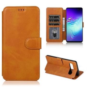 Voor Samsung Galaxy S10 5G Kalf texture Magnetische gesp horizontale flip lederen kast met Holder & Card Slots & Wallet & Photo Frame (Khaki)