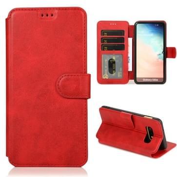 Voor Samsung Galaxy S10e Kalf texture magnetische gesp horizontale flip lederen case met houder & kaartslots & portemonnee & fotoframe(rood)