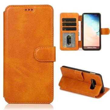 Voor Samsung Galaxy S10e Kalf texture magnetische gesp horizontale flip lederen case met houder & kaartslots & portemonnee & fotoframe (Khaki)