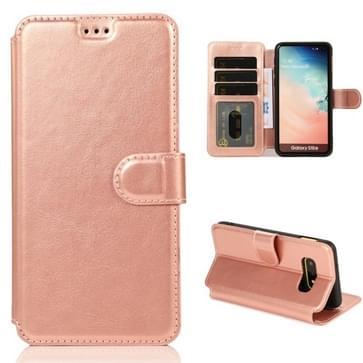 Voor Samsung Galaxy S10e Kalf texture magnetische gesp horizontale flip lederen case met houder & kaartslots & portemonnee & fotoframe (Rose Gold)