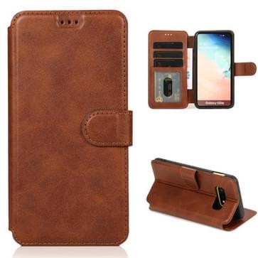Voor Samsung Galaxy S10e Kalf texture magnetische gesp horizontale flip lederen case met houder & kaartslots & portemonnee & fotolijst(koffie)
