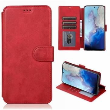 Voor Samsung Galaxy S20 Kalf texture Magnetische gesp horizontale flip lederen case met houder & kaartslots & portemonnee & fotoframe(rood)