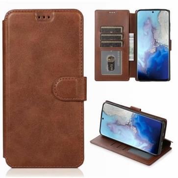 Voor Samsung Galaxy S20 Kalf texture Magnetische gesp horizontale flip lederen case met houder & kaartslots & portemonnee & fotolijst(koffie)