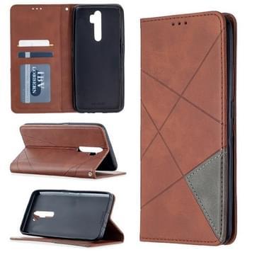 Voor Oppo A5 (2020) / A9 (2020) Rhombus Texture Horizontale Flip Magnetic Leather Case met Holder & Card Slots(Brown)