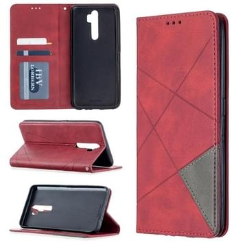Voor Oppo A5 (2020) / A9 (2020) Rhombus Texture Horizontale Flip Magnetic Leather Case met Holder & Card Slots(Red)