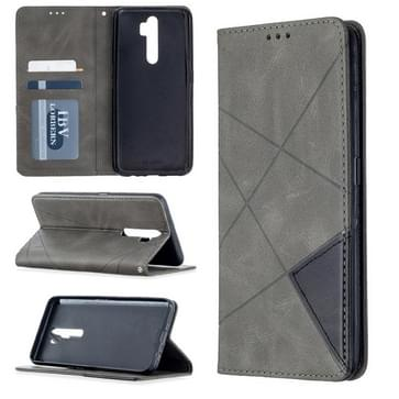 Voor Oppo A5 (2020) / A9 (2020) Rhombus Texture Horizontale Flip Magnetic Leather Case met Holder & Card Slots(Grijs)