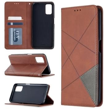 Voor Oppo A72 / A52 / A92 Rhombus Texture Horizontale Flip Magnetic Leather Case met Holder & Card Slots(Bruin)