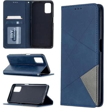 Voor Oppo A72 / A52 / A92 Rhombus Texture Horizontale Flip Magnetic Leather Case met Holder & Card Slots(Blauw)