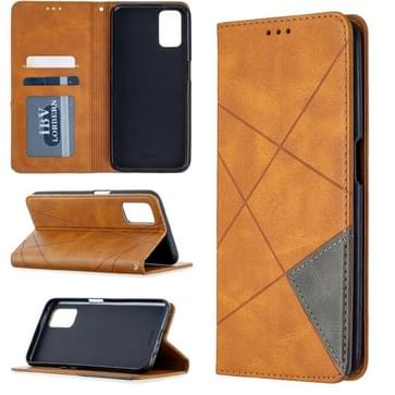 Voor Oppo A72 / A52 / A92 Rhombus Texture Horizontale Flip Magnetic Leather Case met Holder & Card Slots(Geel)
