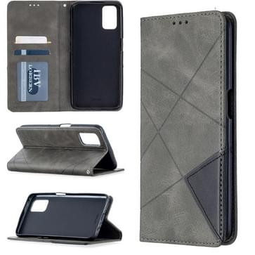 Voor Oppo A72 / A52 / A92 Rhombus Texture Horizontale Flip Magnetic Leather Case met Holder & Card Slots(Grijs)