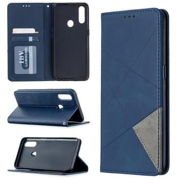 Voor Oppo A31 (2020) / A81 Rhombus Texture Horizontale Flip Magnetic Leather Case met Holder & Card Slots(Blauw)