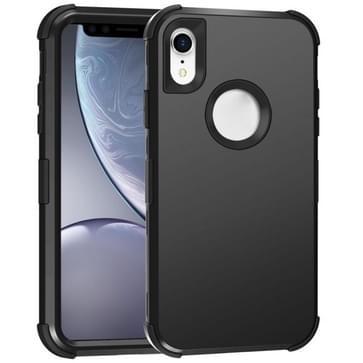 Voor iPhone XR 3 in 1 All-inclusive Shockproof Airbag Siliconen + PC Case(Zwart)