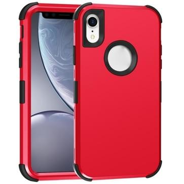 Voor iPhone XR 3 in 1 All-inclusive Shockproof Airbag Siliconen + PC Case(Rood)