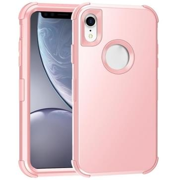 Voor iPhone XR 3 in 1 All-inclusive Shockproof Airbag Siliconen + PC Case(Rose Gold)