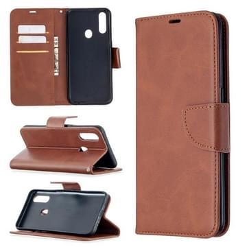 Voor Oppo A31 (2020) / A81 Retro Lambskin Texture Pure Color Horizontale Flip PU Lederen Kast met Holder & Card Slots & Wallet & Lanyard(Brown)
