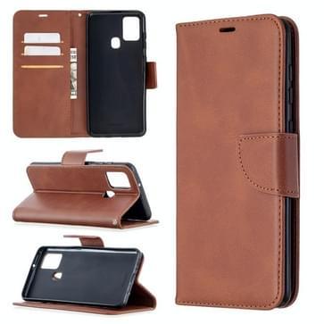 Voor Samsung Galaxy A21s Retro Lambskin Texture Pure Color Horizontale Flip PU Lederen case met Holder & Card Slots & Wallet & Lanyard(Bruin)
