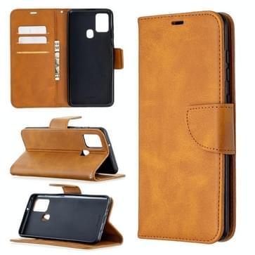 Voor Samsung Galaxy A21s Retro Lambskin Texture Pure Color Horizontale Flip PU Lederen case met Holder & Card Slots & Wallet & Lanyard(Geel)