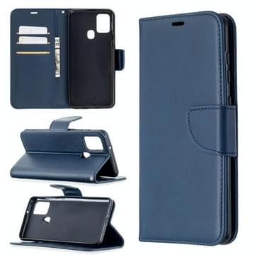 Voor Samsung Galaxy A21s Retro Lambskin Texture Pure Color Horizontale Flip PU Lederen case met Holder & Card Slots & Wallet & Lanyard(Blauw)