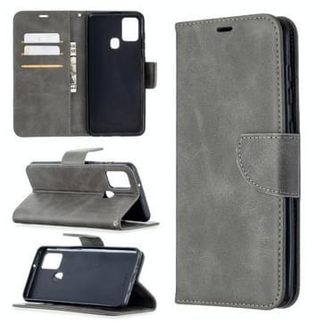 Voor Samsung Galaxy A21s Retro Lambskin Texture Pure Color Horizontale Flip PU Lederen case met Holder & Card Slots & Wallet & Lanyard(Grijs)