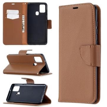 Voor Samsung Galaxy A21s Pure Color Horizontale Flip PU Lederen case met Holder & Card Slots & Wallet & Lanyard(Bruin)