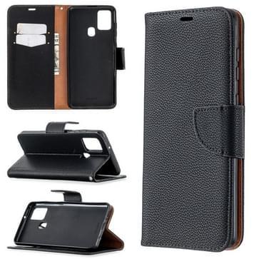 Voor Samsung Galaxy A21s Pure Color Horizontale Flip PU Lederen case met Holder & Card Slots & Wallet & Lanyard(Zwart)