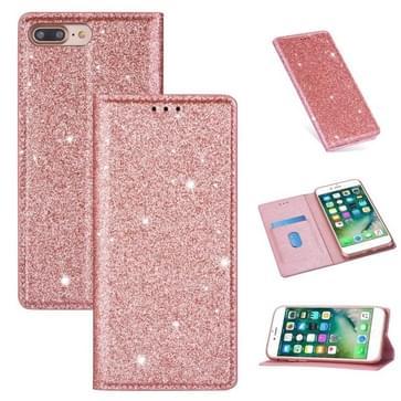 Voor iPhone 8 Plus / 7 Plus Ultradunne Glitter Magnetische horizontale flip lederen hoes met Holder & Card Slots (Rose Gold)