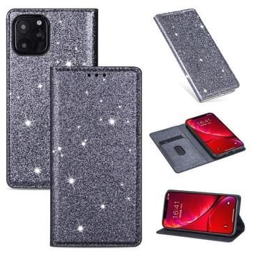 Voor iPhone 11 Ultrathin Glitter Magnetic Horizontal Flip Leather Case met Holder & Card Slots(Grijs)