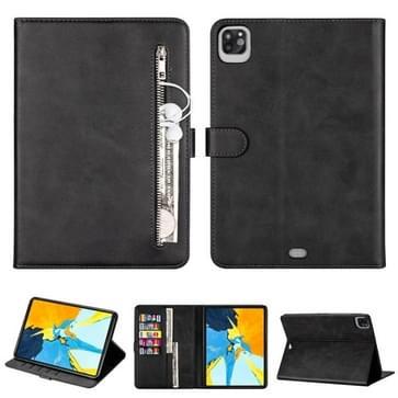 Voor iPad Pro 11(2020) / Pro 11(2018) Tablet Fashion Calf Texture Zipper Horizontale Flip Leather Case met Stand & Card Slots & Wallet & Wake-up / Sleep Function(Black)