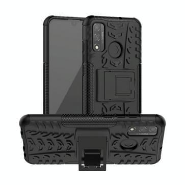Voor Huawei P Smart (2020) Band Texture Shockproof TPU + PC Beschermhoes met houder(zwart)