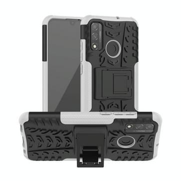 Voor Huawei P Smart (2020) Band Texture Shockproof TPU + PC Beschermhoes met houder(wit)