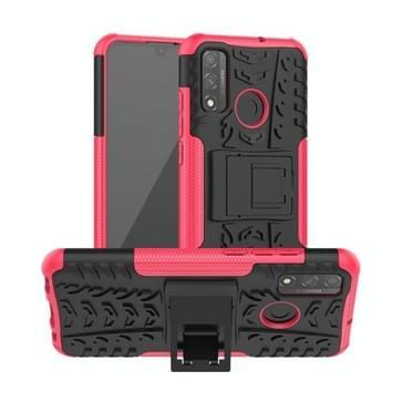 Voor Huawei P Smart (2020) Band Texture Shockproof TPU + PC Beschermhoes met houder(Rose Red)