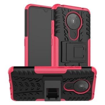 Voor Nokia 5.3 Tire Texture Shockproof TPU + PC Beschermhoes met houder (Rose Red)