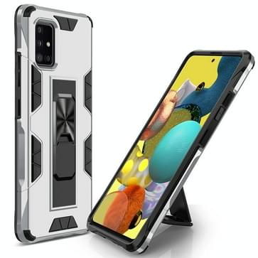 Voor Samsung Galaxy A51 5G Soldier Armor Shockproof TPU + PC Magnetic Protective Case met Holder(Silver)