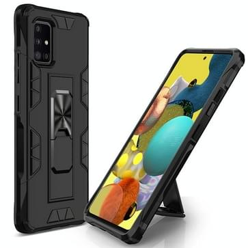 Voor Samsung Galaxy A51 5G Soldier Armor Shockproof TPU + PC Magnetic Protective Case met Holder(Black)