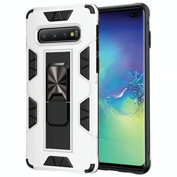 Voor Samsung Galaxy S10 Soldier Armor Shockproof TPU + PC Magnetic Protective Case met Holder(White)